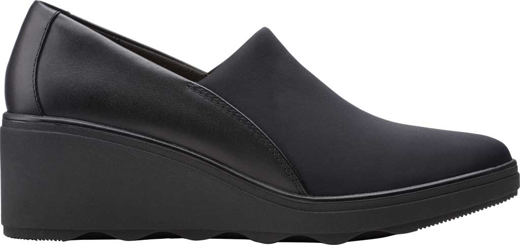 Women's Clarks Mazy Seabury Wedge Loafer, Black Leather/Stretch Combi, large, image 2