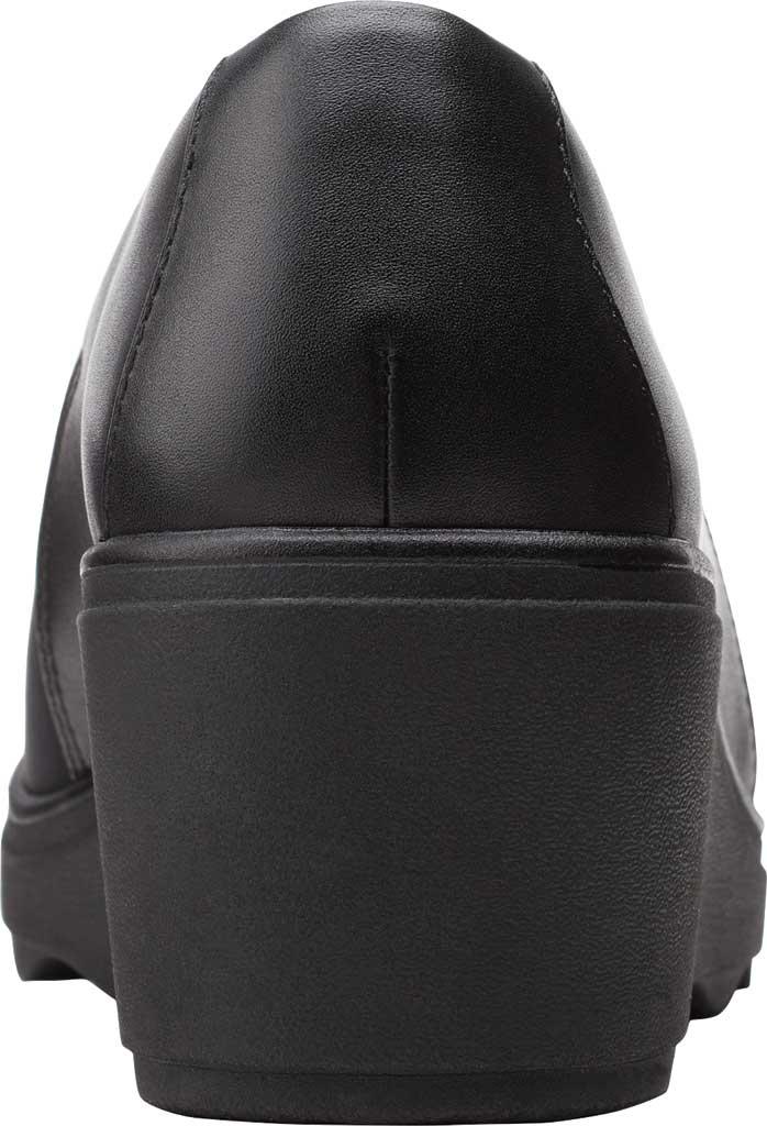 Women's Clarks Mazy Seabury Wedge Loafer, Black Leather/Stretch Combi, large, image 4