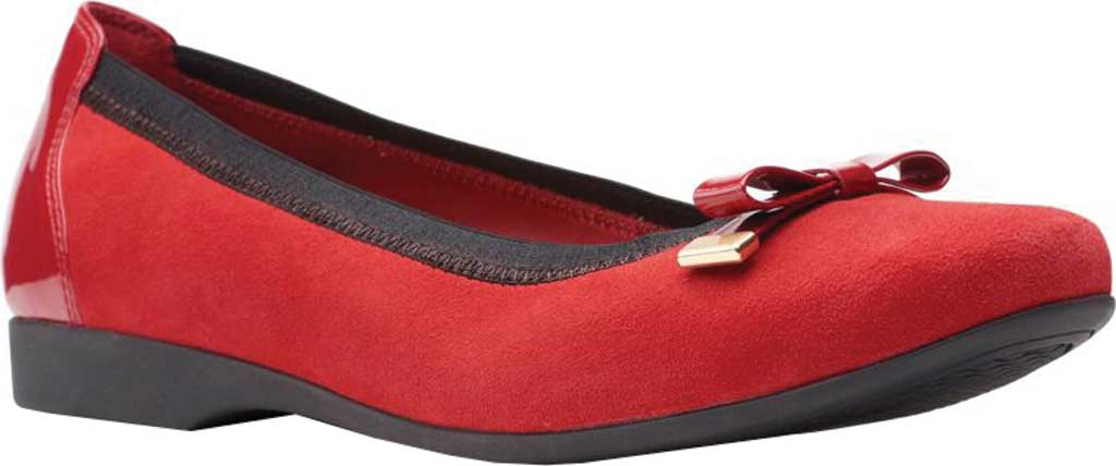 Women's Clarks Un Darcey Bow Ballet Flat, Red Suede/Patent, large, image 1