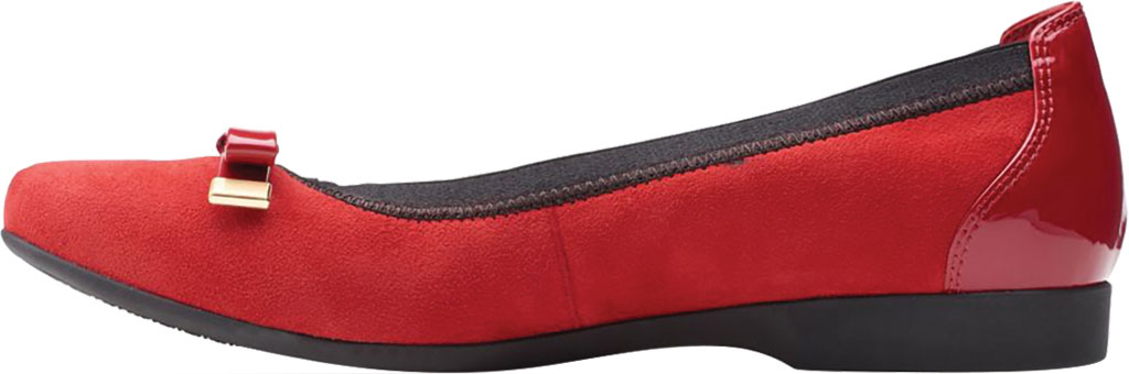 Women's Clarks Un Darcey Bow Ballet Flat, Red Suede/Patent, large, image 3