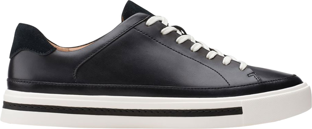 Women's Clarks Un Maui Tie Sneaker, Black Full Grain Leather, large, image 2