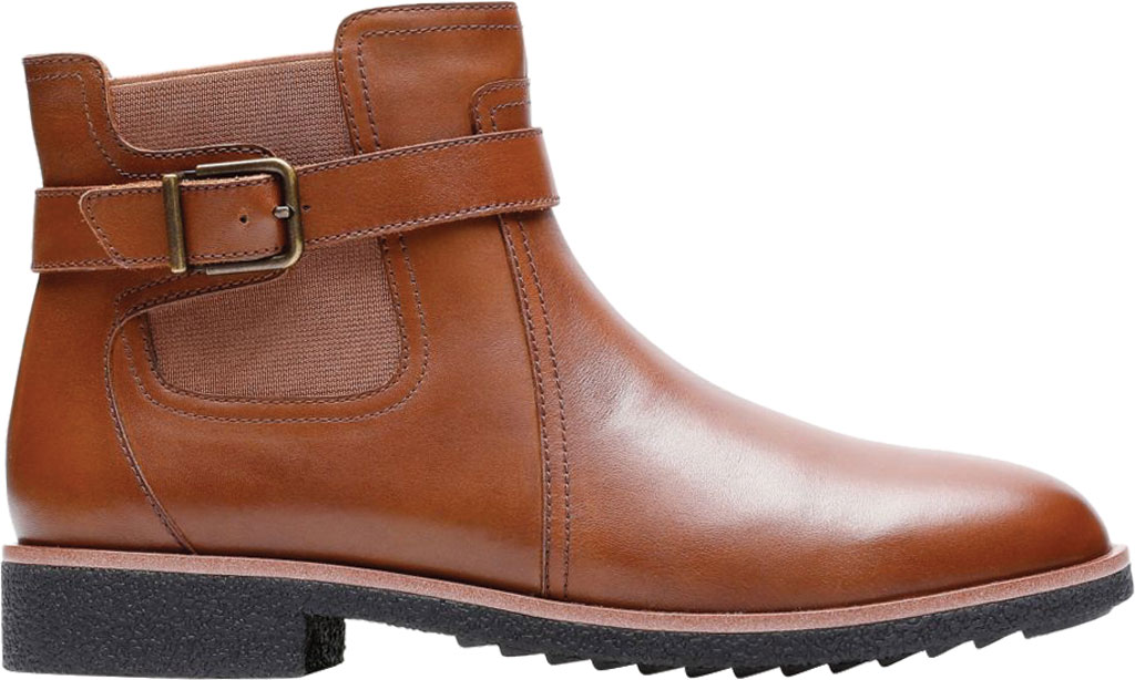 Women's Clarks Griffin North Ankle Bootie, Dark Tan Full Grain Leather, large, image 1