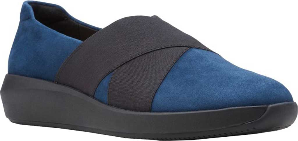 Women's Clarks Tawnia Band Slip On, Navy Suede, large, image 1