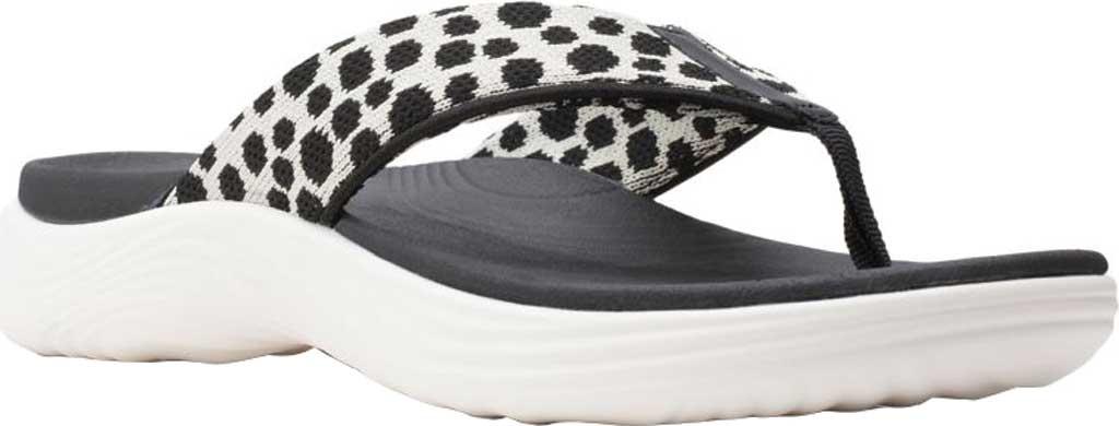 Women's Clarks Lola Point Flip Flop, Black/White Interest Textile, large, image 1