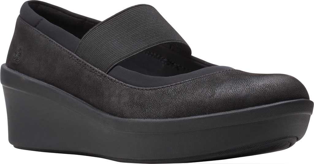 Women's Clarks Step Rose Ivy Wedge Mary Jane, Black Textile, large, image 1