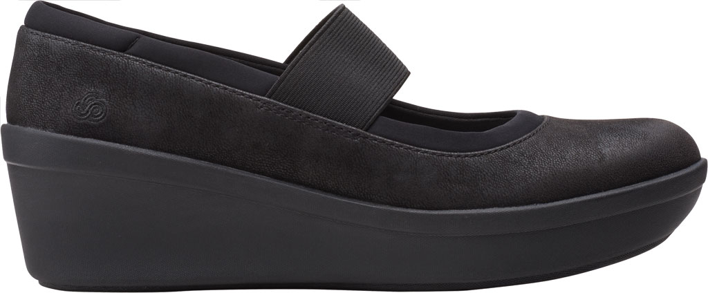 Women's Clarks Step Rose Ivy Wedge Mary Jane, Black Textile, large, image 2