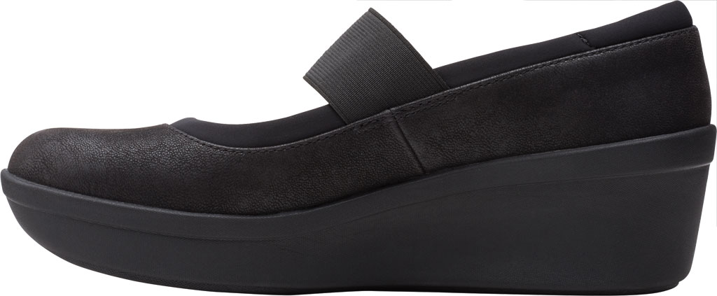 Women's Clarks Step Rose Ivy Wedge Mary Jane, Black Textile, large, image 3