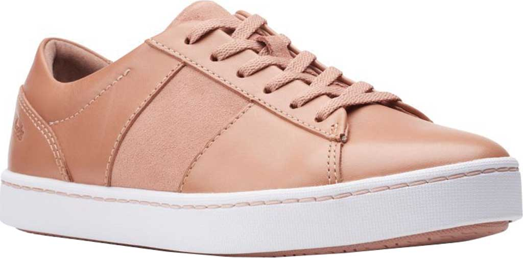 Women's Clarks Pawley Rilee Sneaker, Rose Suede/Full Grain Leather, large, image 1