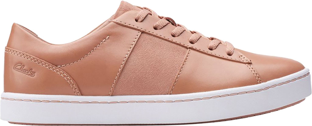 Women's Clarks Pawley Rilee Sneaker, Rose Suede/Full Grain Leather, large, image 2