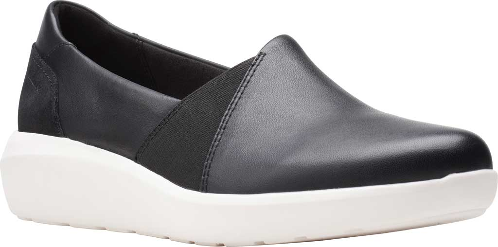 Women's Clarks Kayleigh Step Slip On Sneaker, Black Combi Leather, large, image 1