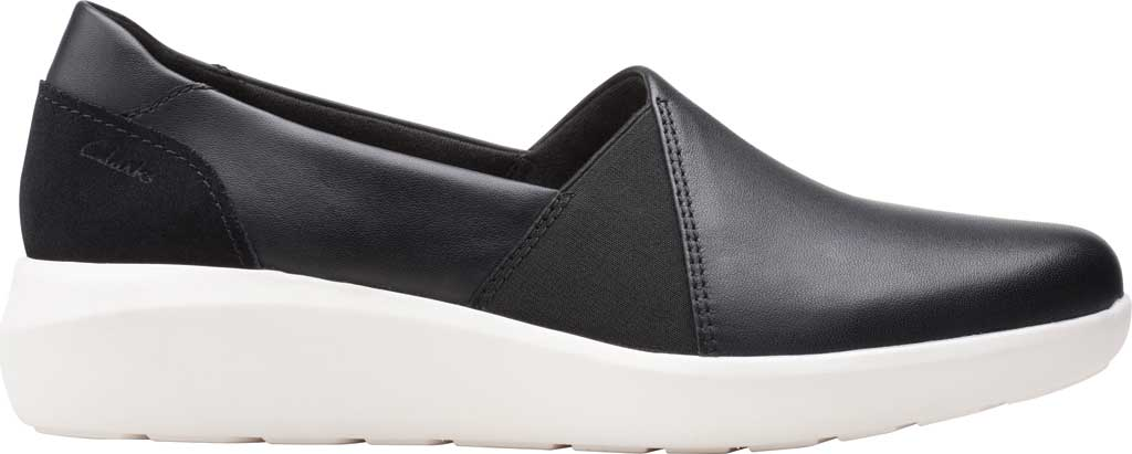 Women's Clarks Kayleigh Step Slip On Sneaker, Black Combi Leather, large, image 2