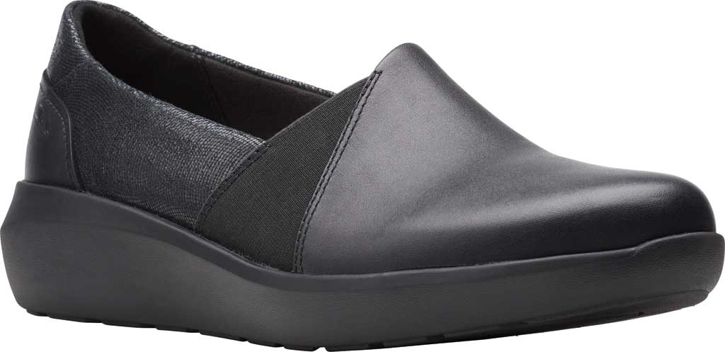 Women's Clarks Kayleigh Step Slip On Sneaker, Black Interest Combi Suede, large, image 1