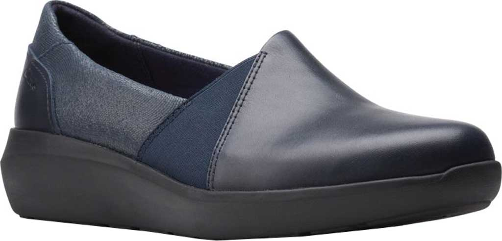 Women's Clarks Kayleigh Step Slip On Sneaker, Navy Interest Combi Suede, large, image 1