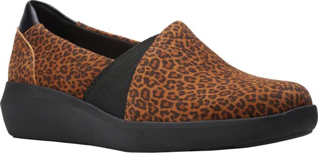 Women's Clarks Kayleigh Step Slip On Sneaker, Dark Tan Cheetah Print Suede, large, image 1