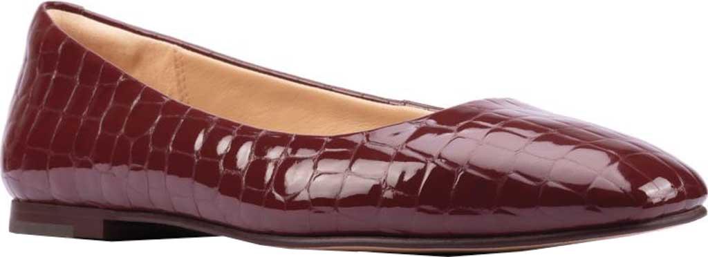 Women's Clarks Pure2 Ballet Flat, Merlot Croc Patent, large, image 1
