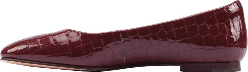Women's Clarks Pure2 Ballet Flat, Merlot Croc Patent, large, image 3