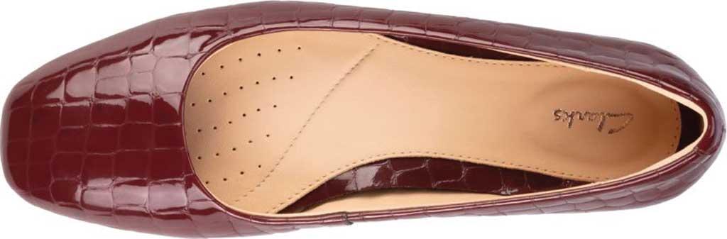 Women's Clarks Pure2 Ballet Flat, Merlot Croc Patent, large, image 5