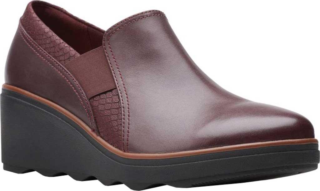 Women's Clarks Mazy Squam Wedge Loafer, Burgundy Interest Combi Full Grain Leather, large, image 1