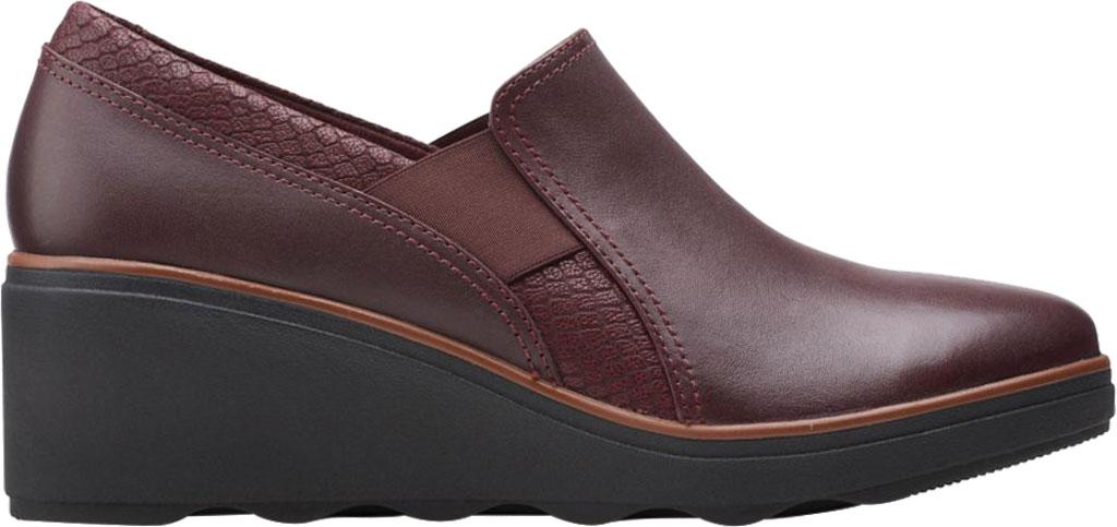 Women's Clarks Mazy Squam Wedge Loafer, Burgundy Interest Combi Full Grain Leather, large, image 2