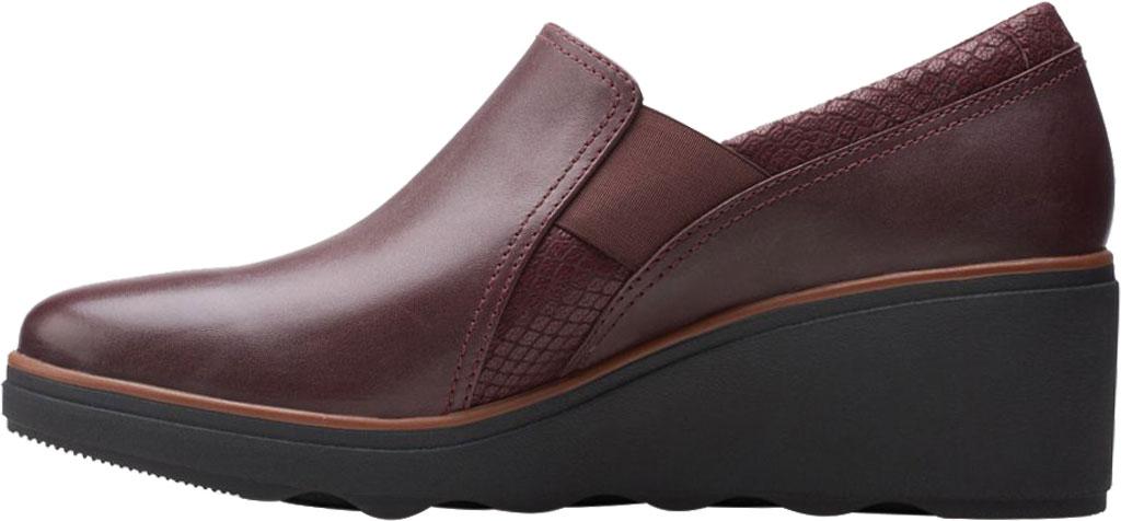 Women's Clarks Mazy Squam Wedge Loafer, Burgundy Interest Combi Full Grain Leather, large, image 3