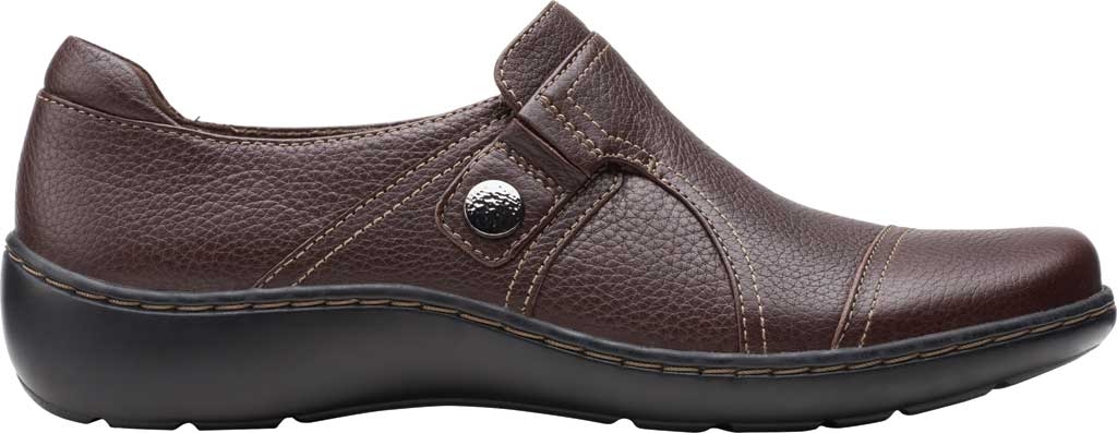 Women's Clarks Cora Poppy Slip On, Dark Brown Tumbled Leather, large, image 2