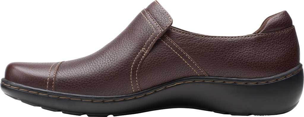 Women's Clarks Cora Poppy Slip On, Dark Brown Tumbled Leather, large, image 3