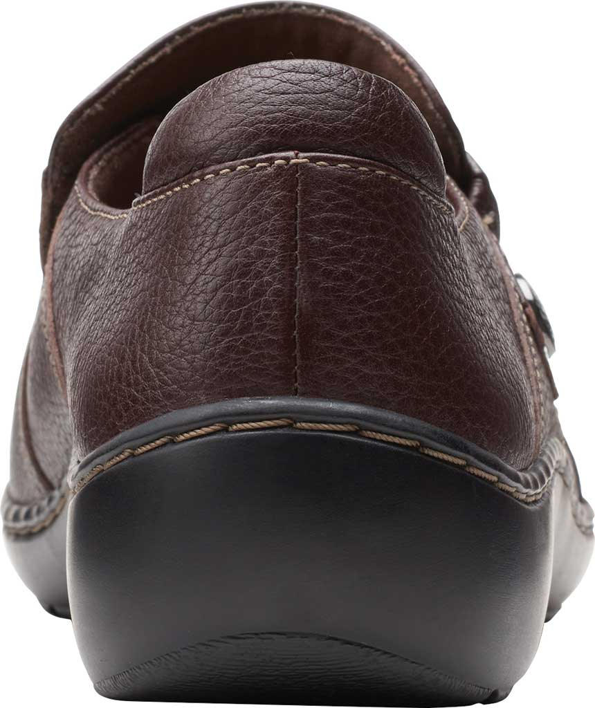 Women's Clarks Cora Poppy Slip On, Dark Brown Tumbled Leather, large, image 4