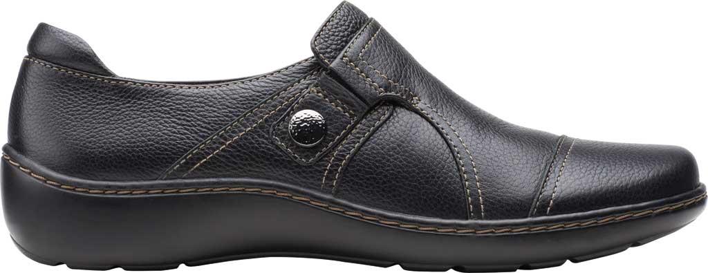 Women's Clarks Cora Poppy Slip On, Black Tumbled Leather, large, image 2