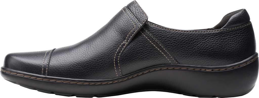 Women's Clarks Cora Poppy Slip On, Black Tumbled Leather, large, image 3