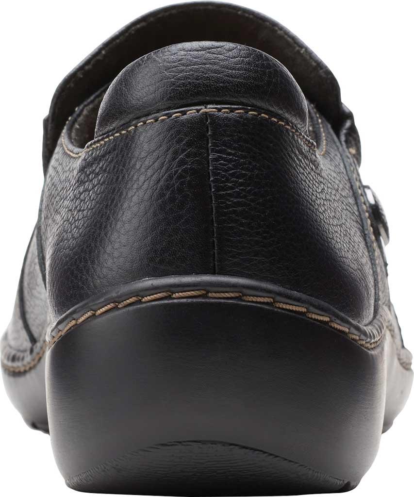 Women's Clarks Cora Poppy Slip On, Black Tumbled Leather, large, image 4
