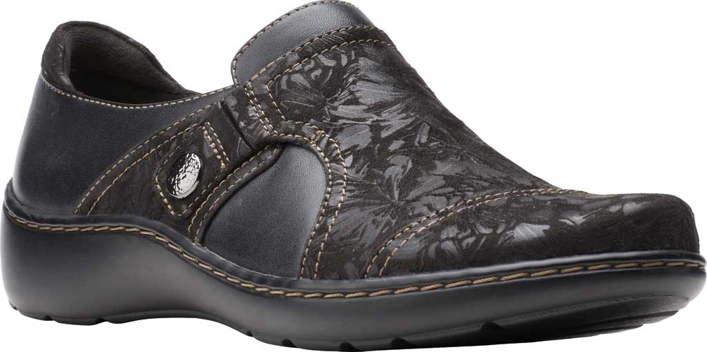 Women's Clarks Cora Poppy Slip On, Black Textile/Leather, large, image 1