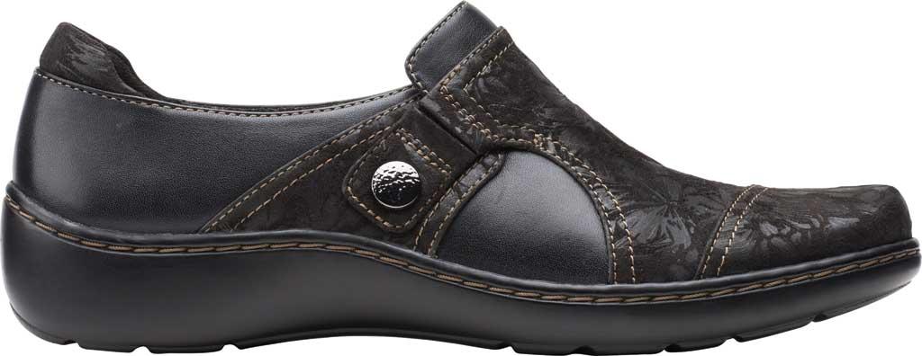 Women's Clarks Cora Poppy Slip On, Black Textile/Leather, large, image 2