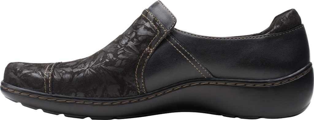 Women's Clarks Cora Poppy Slip On, Black Textile/Leather, large, image 3