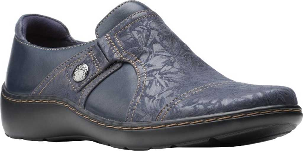 Women's Clarks Cora Poppy Slip On, Navy Combination Textile/Full Grain Leather, large, image 1