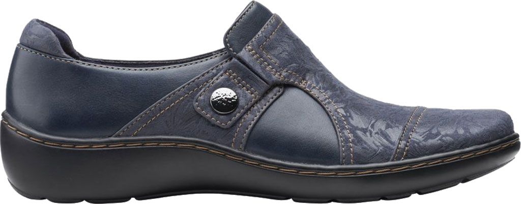Women's Clarks Cora Poppy Slip On, Navy Combination Textile/Full Grain Leather, large, image 2