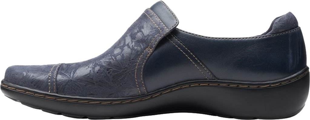 Women's Clarks Cora Poppy Slip On, Navy Combination Textile/Full Grain Leather, large, image 3