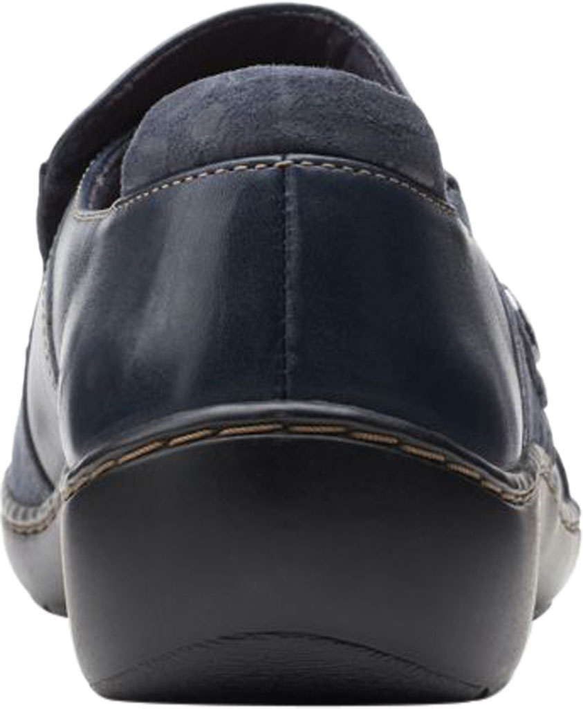 Women's Clarks Cora Poppy Slip On, Navy Combination Textile/Full Grain Leather, large, image 4