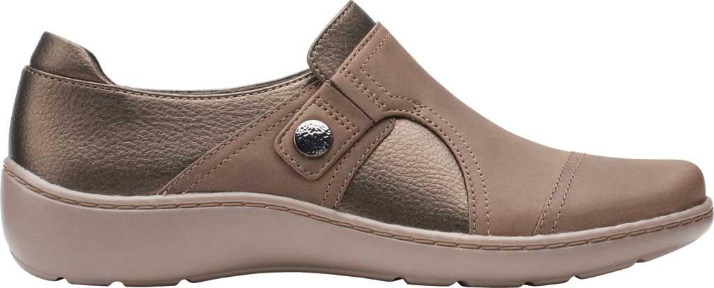 Women's Clarks Cora Poppy Slip On, Taupe/Bronze Combination Full Grain Leather, large, image 2