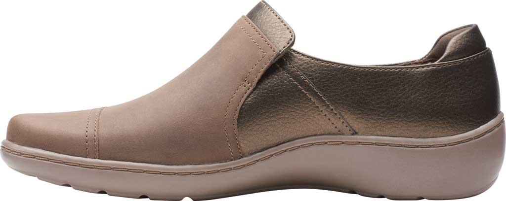 Women's Clarks Cora Poppy Slip On, Taupe/Bronze Combination Full Grain Leather, large, image 3