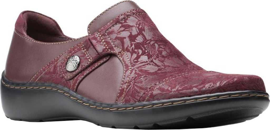 Women's Clarks Cora Poppy Slip On, Burgundy Textile/Full Grain Leather, large, image 1