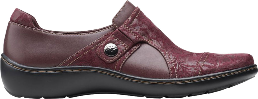 Women's Clarks Cora Poppy Slip On, Burgundy Textile/Full Grain Leather, large, image 2