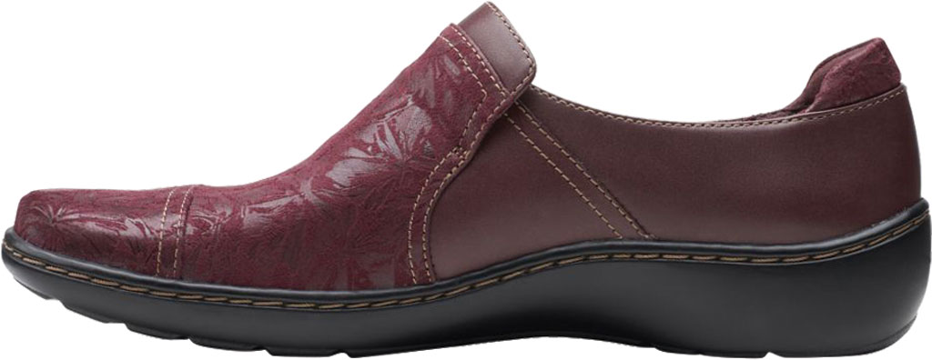 Women's Clarks Cora Poppy Slip On, Burgundy Textile/Full Grain Leather, large, image 3
