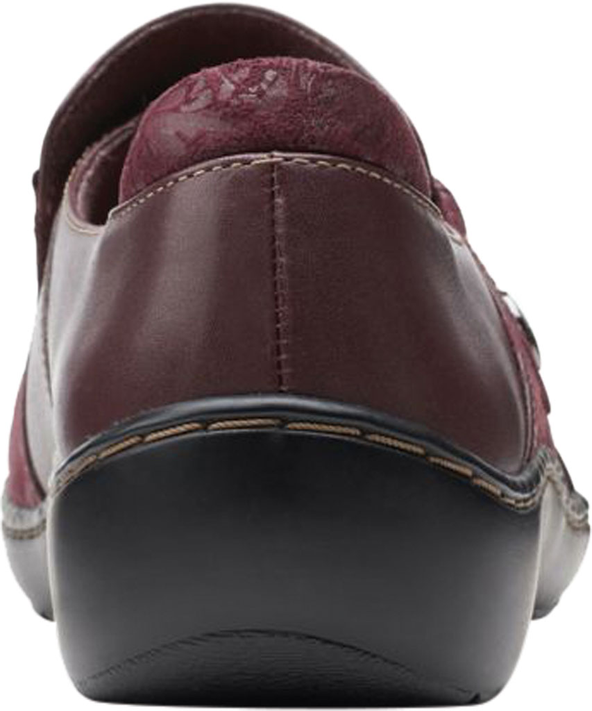 Women's Clarks Cora Poppy Slip On, Burgundy Textile/Full Grain Leather, large, image 4