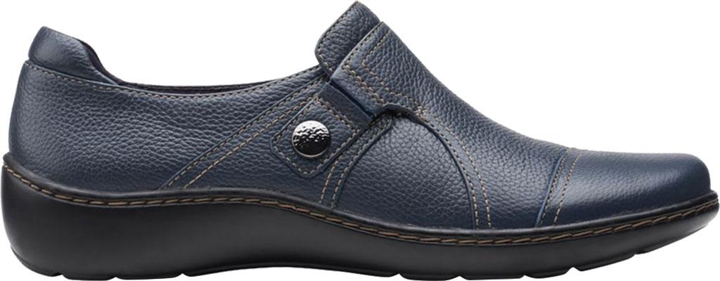 Women's Clarks Cora Poppy Slip On, Navy Tumbled Leather, large, image 2