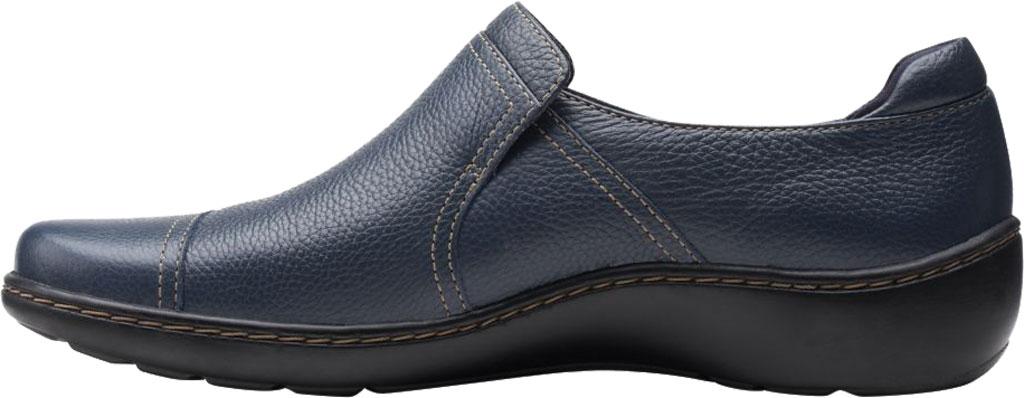 Women's Clarks Cora Poppy Slip On, Navy Tumbled Leather, large, image 3
