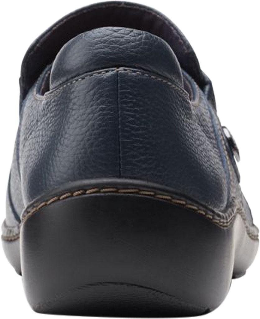 Women's Clarks Cora Poppy Slip On, Navy Tumbled Leather, large, image 4