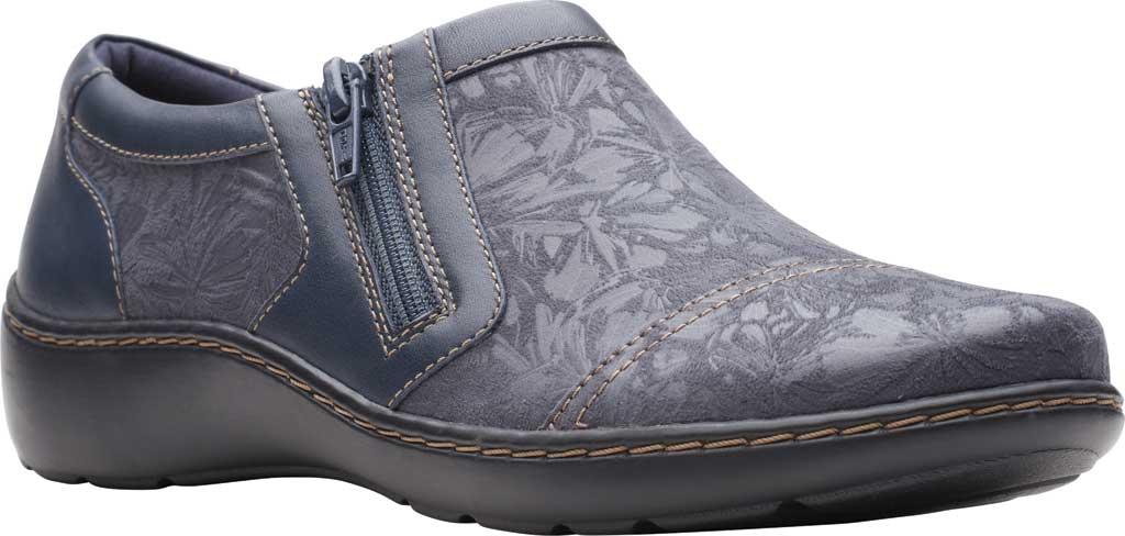 Women's Clarks Cora Giny Slip On, Navy Textile/Full Grain Leather, large, image 1