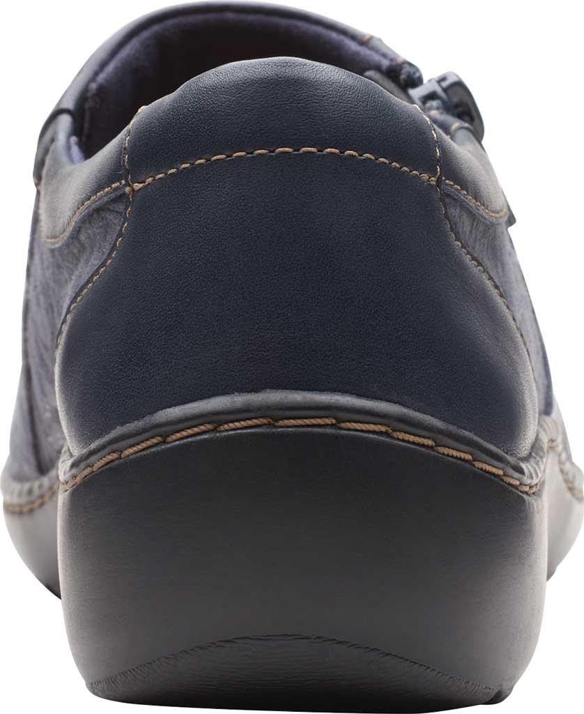 Women's Clarks Cora Giny Slip On, Navy Textile/Full Grain Leather, large, image 4
