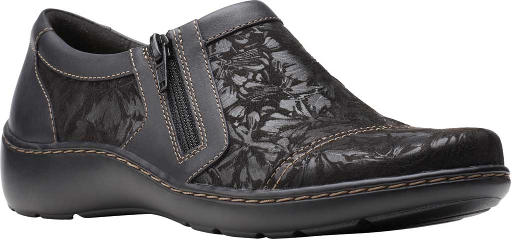 Women's Clarks Cora Giny Slip On, Black Textile/Leather, large, image 1