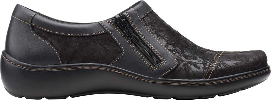 Women's Clarks Cora Giny Slip On, Black Textile/Leather, large, image 2